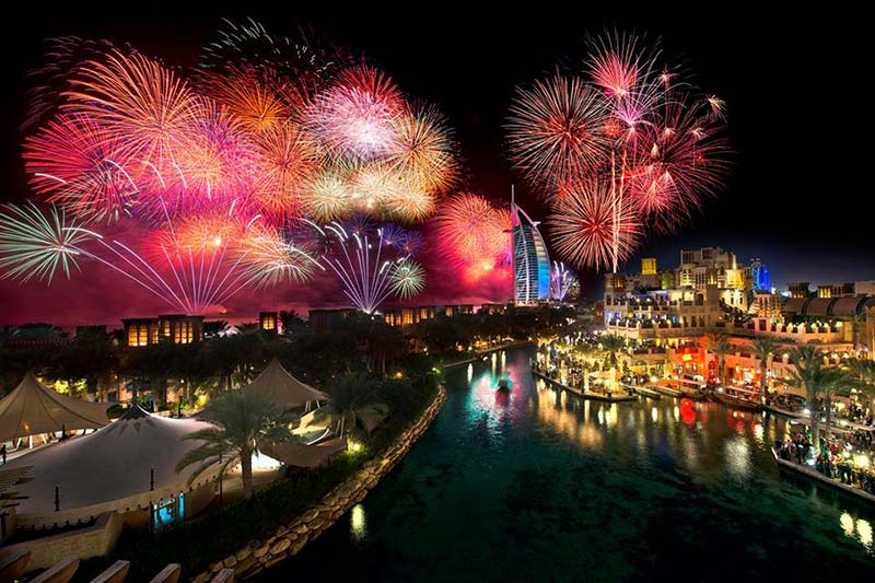 Madinat Jumeirah Fireworks on new year eve in dubai