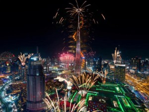 View Of burj khalifa fireworks from the hotel during new year