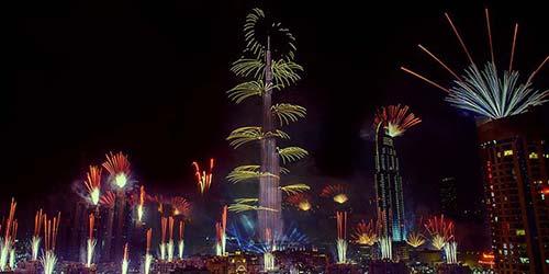 New Year Fireworks in Burj Khalifa